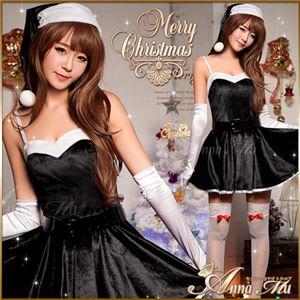 ブラックサンタコスプレ♪大人ドレスの中にも可愛さ溢れるサンタ衣装♪リボン付きのストッキングが可愛い☆